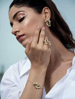 Brown Blue Gold Plated Rosewood Bracelet