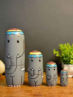 Gajanana Grey Handcrafted and Hand-painted Wood Nesting Dolls (Set of 4)