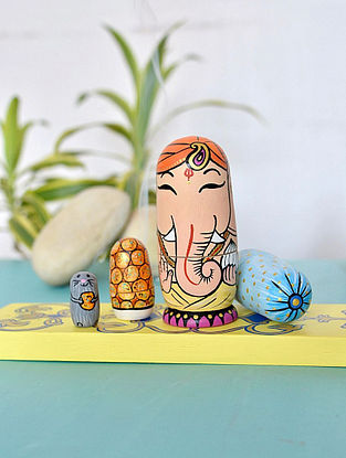 Ganpati Multicolor Handcrafted and Hand-painted Wood Nesting Dolls with Stand (Set of 4)