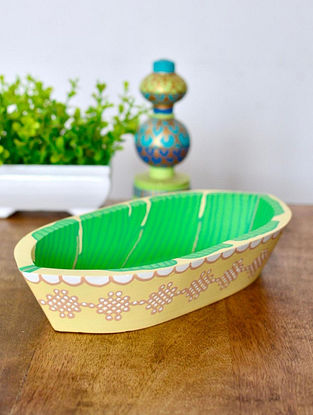 Onam Banana Leaf Multicolor Handcrafted and Hand-painted Pine Wood Boat Tray (L - 20.5cm, W - 11.cm, H - 4cm)