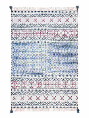 Multicolor Cotton Rug with Tassels (72in x 48in)