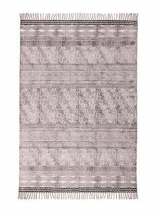 Grey Cotton Rug with Tassels (72in x 48in)