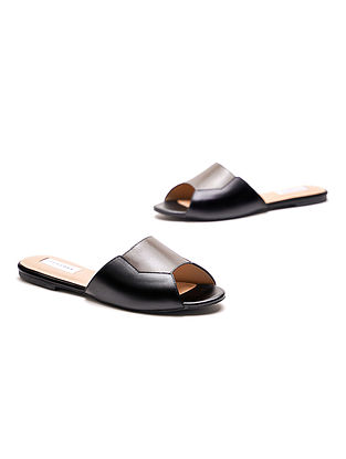 Black Grey Handcrafted Genuine Leather Flats