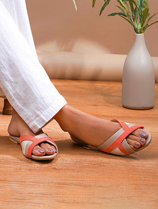 Nude Peach Handcrafted Genuine Leather Flats