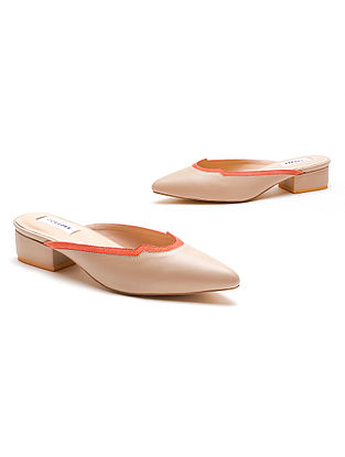 Nude Peach Handcrafted Genuine Leather Block Heels