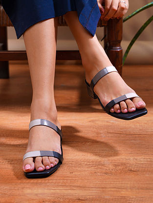 Black Grey Handcrafted Genuine Leather Block Heels