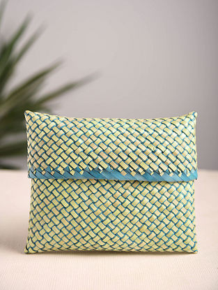 Yellow Blue Handcrafted Palm Leaf Pouch