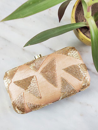 Gold Handcrafted Raw Silk Clutch