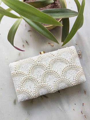 White Handcrafted Raw Silk Clutch