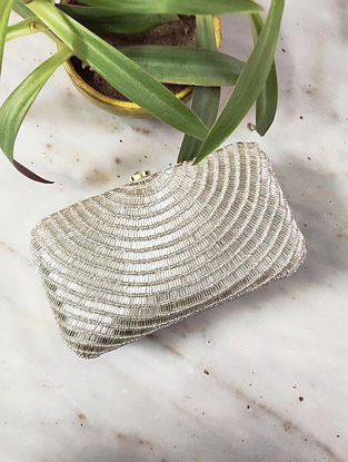 Silver Handcrafted Raw Silk Clutch
