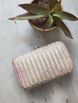 Silver Handcrafted Sequined Raw Silk Clutch
