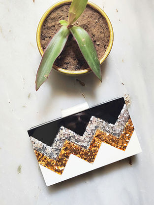 White Black Handcrafted Resin Clutch
