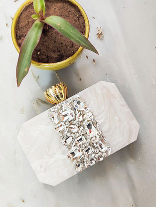 White Handcrafted Resin Clutch