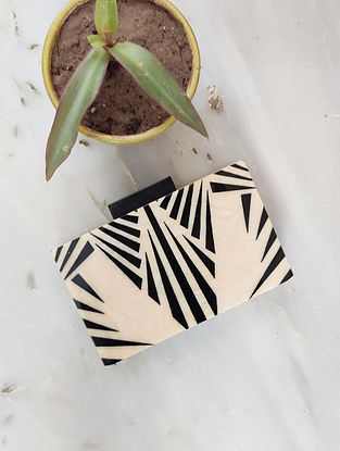 Beige Black Handcrafted Resin Clutch