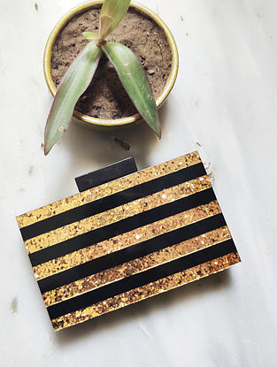 Black Gold Handcrafted Resin Clutch