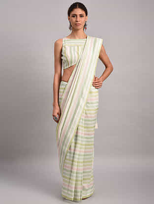 Green-Pink Striped Chanderi Silk Saree