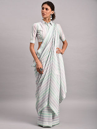 Blue-Green Striped Chanderi Silk Saree