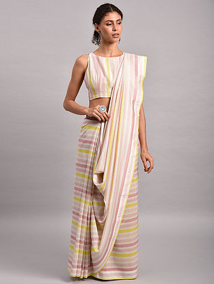 Yellow-Pink Striped Chanderi Silk Saree