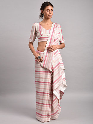 Pink-White Striped Chanderi Silk Saree