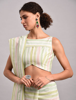 Green-Pink Striped Chanderi Silk Blouse