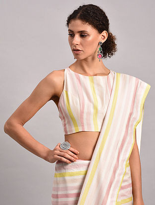 Yellow-Pink Striped Chanderi Silk Blouse