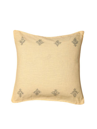 Off-White Hand-Embroidered Cotton Cushion Covers (Set of 2)