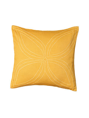 Yellow Hand-Embroidered Cotton Cushion Covers (Set of 2)