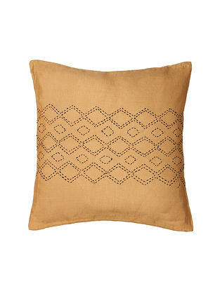 Beige Hand-Embroidered Cotton Cushion Covers (Set of 2)