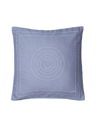 Grey Hand-Embroidered Cotton Cushion Covers (Set of 2)