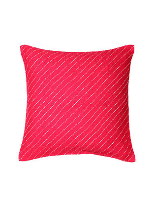Pink Hand-Embroidered Cotton Cushion Covers (Set of 2)