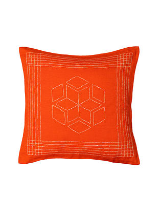 Rust Orange Hand-Embroidered Cotton Cushion Covers (Set of 2)