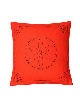Red Hand-Embroidered Cotton Cushion Covers (Set of 2)
