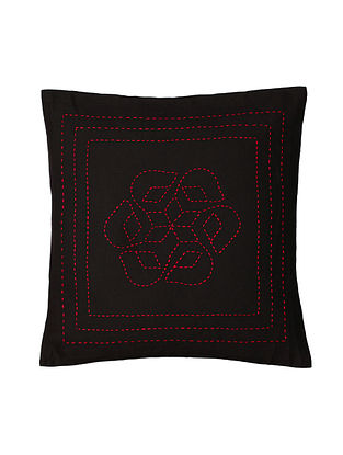 Black Hand-Embroidered Cotton Cushion Covers (Set of 2)