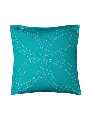 Blue Hand-Embroidered Cotton Cushion Covers (Set of 2)