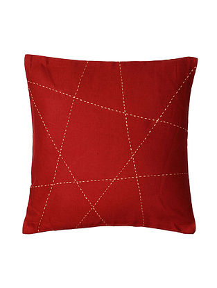 Maroon Hand-Embroidered Cotton Cushion Covers (Set of 2)