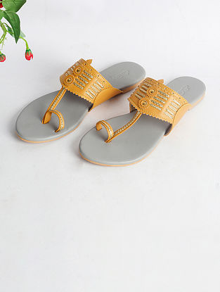 Yellow Handcrafted Faux Leather Kolhapuri Flats