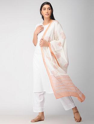 Ivory-Peach Block Printed Cotton Dupatta
