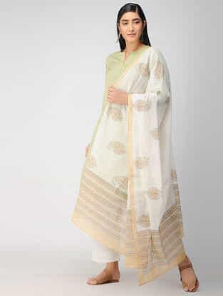 Ivory-BeigeBlock Printed Cotton Dupatta