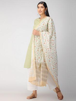 Ivory-Beige Block Printed Cotton Dupatta