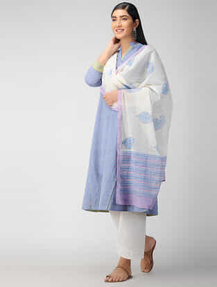 Ivory-Blue Block Printed Cotton Dupatta