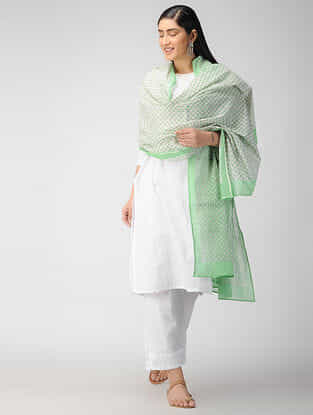 Ivory-Green Block Printed Cotton Dupatta