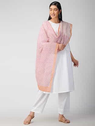Pink-Beige Block Printed Cotton Dupatta