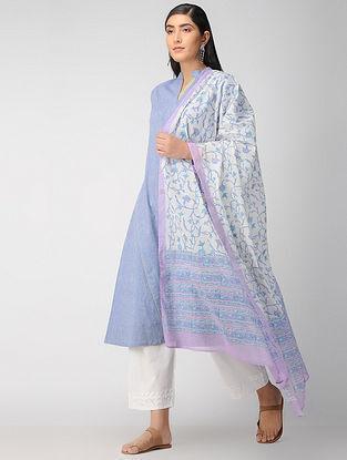 Ivory-Lavendar Block Printed Cotton Dupatta