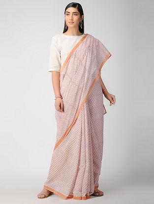 Beige-Pink Block Printed Cotton Saree