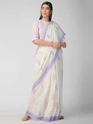Ivory-Lavendar Block Printed Cotton Saree