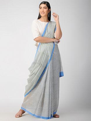 Ivory-Blue Block Printed Cotton Saree