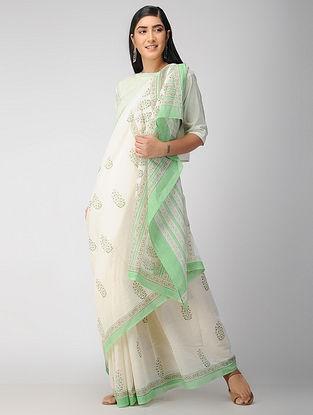 Ivory-Green Block Printed Cotton Saree