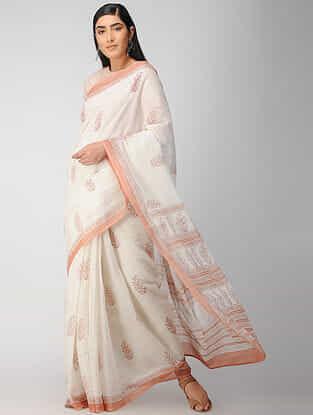 Ivory-Beige Block Printed Cotton Saree