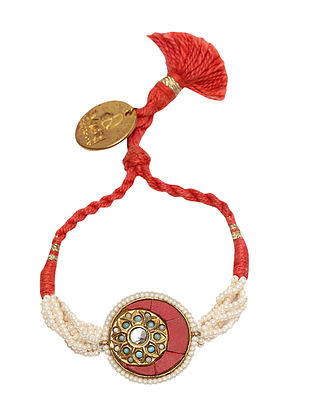 Red Gold Plated Kundan Bracelet with Pearls