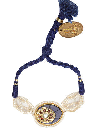 Blue Gold Plated Kundan Bracelet with Pearls